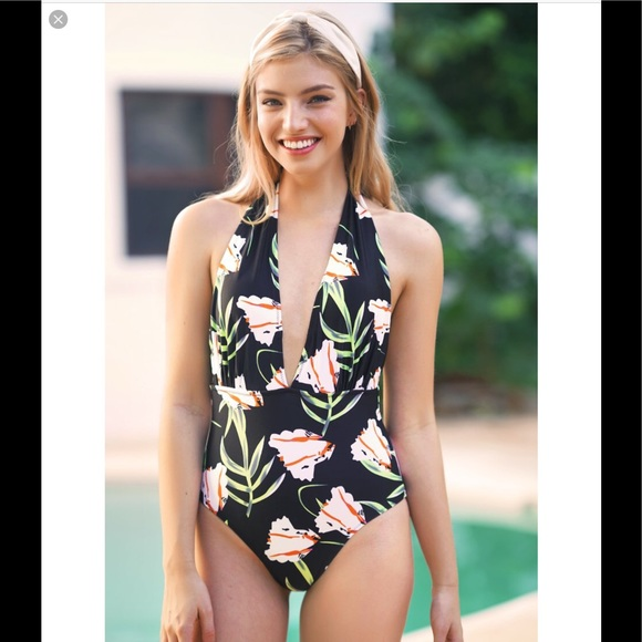 6056ba3ff0be5 Cupshe Swim | Black Floral One Piece | Poshmark